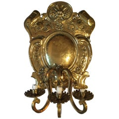 19th Century Baroque Style Large Brass Three-Light Swedish Wall Sconce