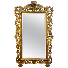 19th Century Baroque Style Tall Carved Gold Gilt Beveled Mirror, Rome circa 1840
