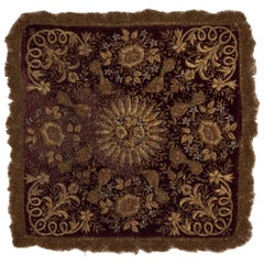 19th Century Baroque Style Velvet and Metallic Thread Embroidery Wall Hanging