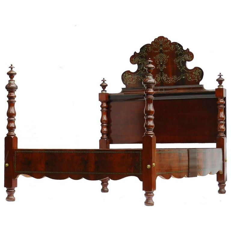 19th century bed queen size spanish inlaid four post brass mahogany uk king size at 1stdibs. Black Bedroom Furniture Sets. Home Design Ideas