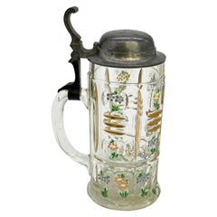 19th Century Beer Mug with Flowers and Gold Detail and Diamond Cut