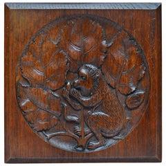 19th Century Belgian Art Nouveau Carved Wood Plaque Depicting a Monkey