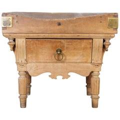 19th Century Belgian Butcher Block Table