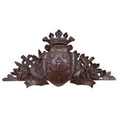 19th Century Belgian Carved Wood Women's Club Plaque