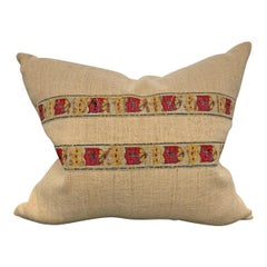 19th Century Belgian Crest Trim Pillow