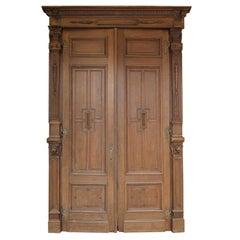 19th Century Belgian Oak Double Door with Frame