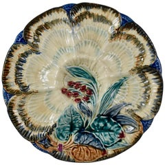 19th Century Belgian Wasmuël Earthenware Wave and Floral Oyster Plate