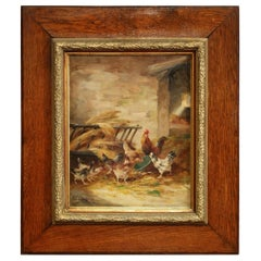 19th Century Belgium Chicken Oil on Canvas Painting Signed E. Coppenolle