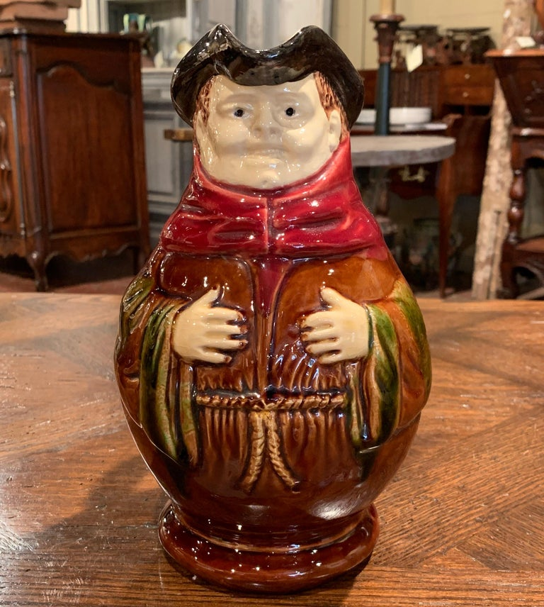 Hand-Crafted 19th Century Belgium Painted Ceramic Barbotine Monk Pitcher from Nimy-Les-Mons For Sale