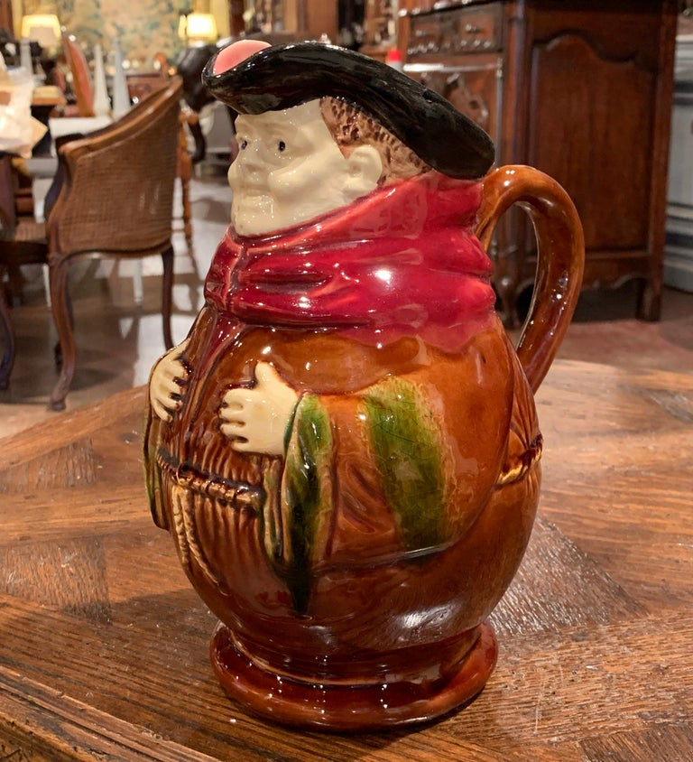 19th Century Belgium Painted Ceramic Barbotine Monk Pitcher from Nimy-Les-Mons In Excellent Condition For Sale In Dallas, TX