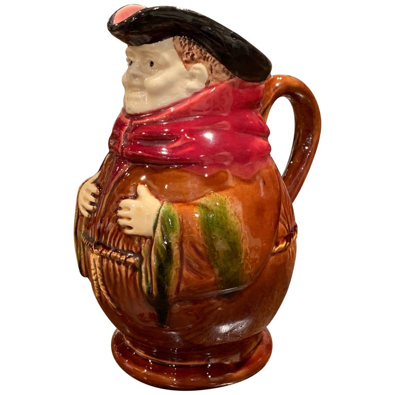 19th Century Belgium Painted Ceramic Barbotine Monk Pitcher from Nimy-Les-Mons For Sale