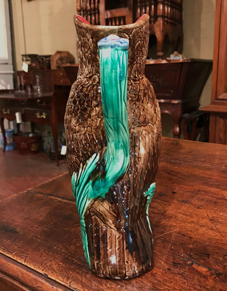 19th Century Belgium Painted Ceramic Barbotine Owl Pitcher from Nimy-Les-Mons For Sale 2