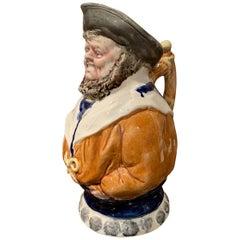 19th Century Belgium Painted Ceramic Barbotine Sailor Pitcher from Nimy Les Mons