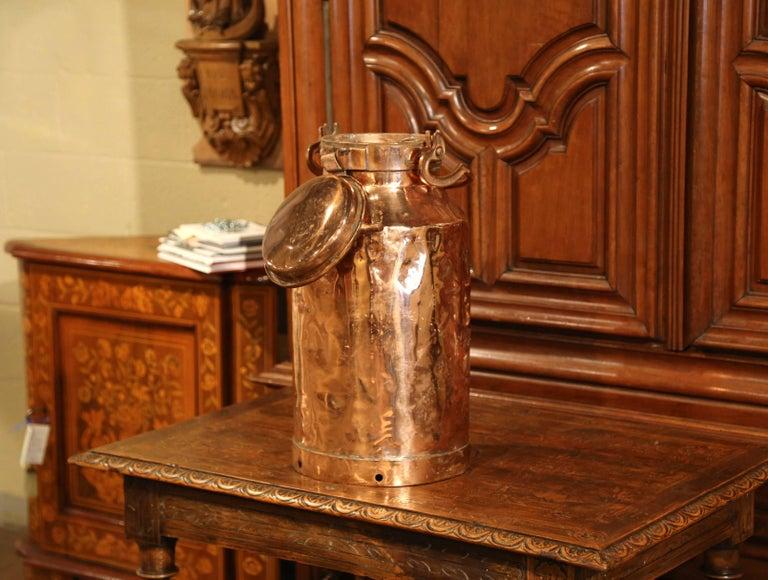 19th Century Belgium Patinated Copper Milk Container Or Umbrella