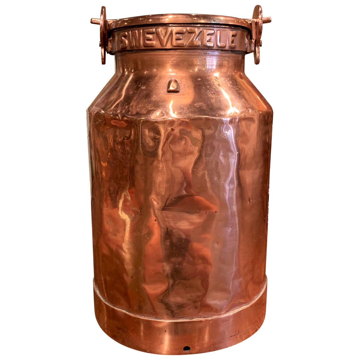 19th Century Belgium Polished Copper Plated Milk Container with Handles and Lid