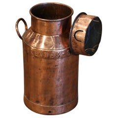 19th Century Belgium Polished Copper Plated Milk Container with Removable Lid