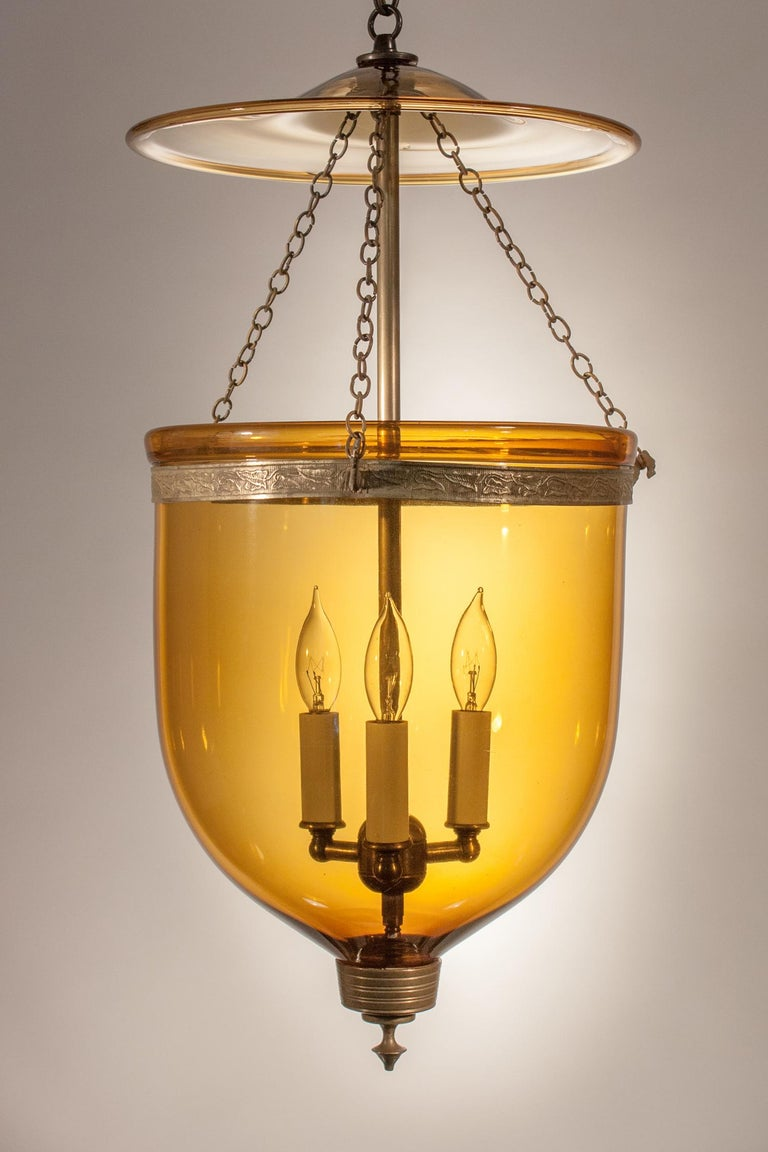 High Victorian Antique Bell Jar Lantern with Amber Colored Glass