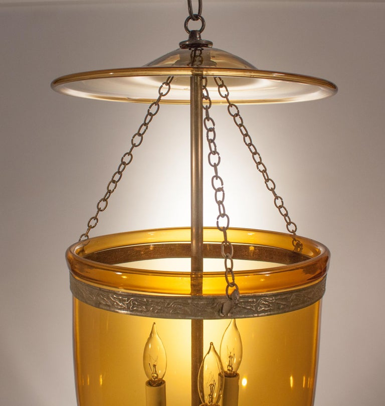 Unknown Antique Bell Jar Lantern with Amber Colored Glass