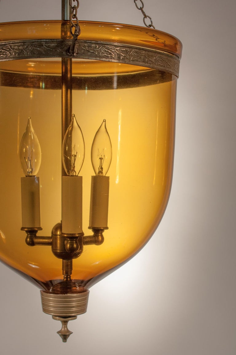 Antique Bell Jar Lantern with Amber Colored Glass In Good Condition In Heath, MA
