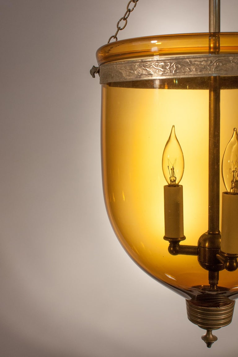 19th Century Antique Bell Jar Lantern with Amber Colored Glass