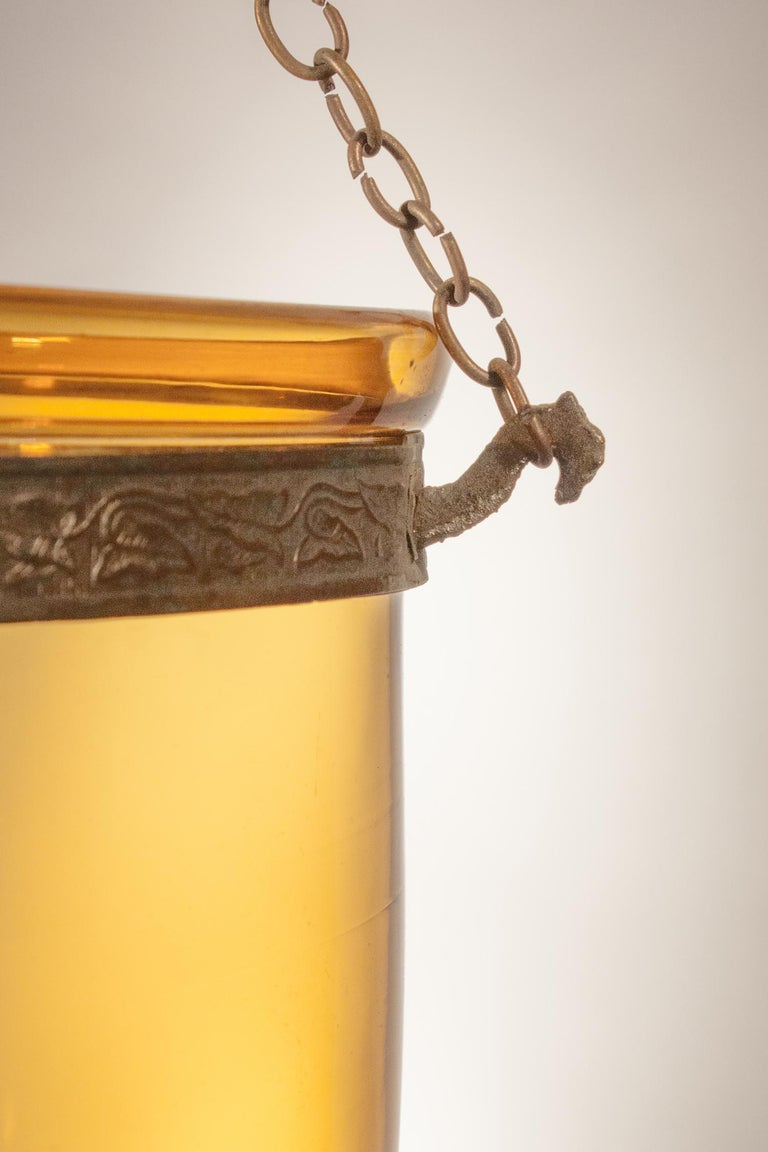 Antique Bell Jar Lantern with Amber Colored Glass 1