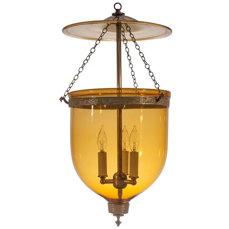 Antique Bell Jar Lantern with Amber Colored Glass