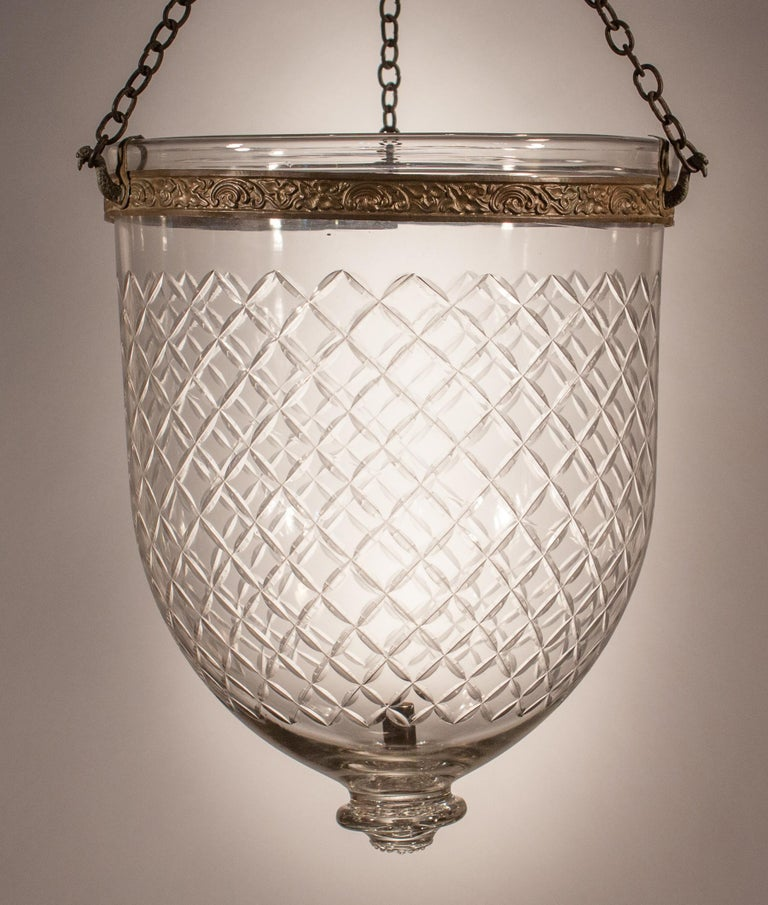 19th Century Bell Jar Lantern with Diamond Etching For Sale 3
