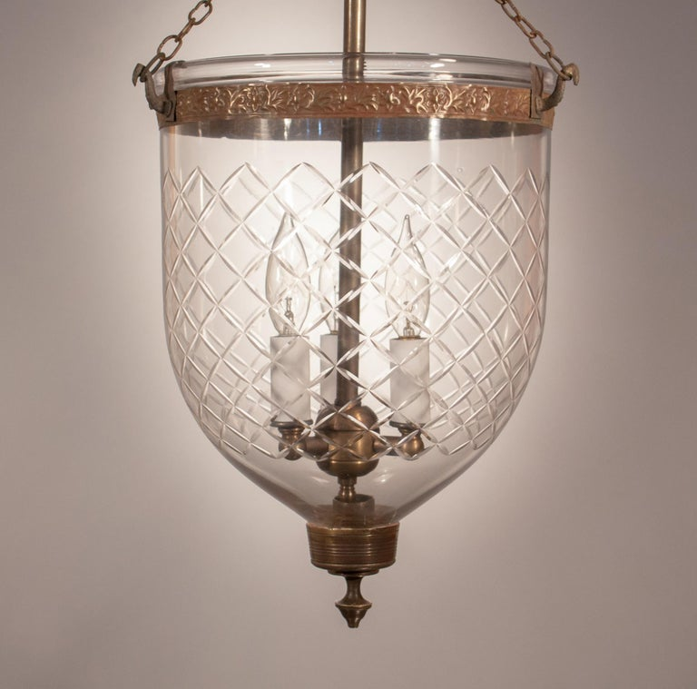 Victorian 19th Century Bell Jar Lantern with Diamond Etching For Sale