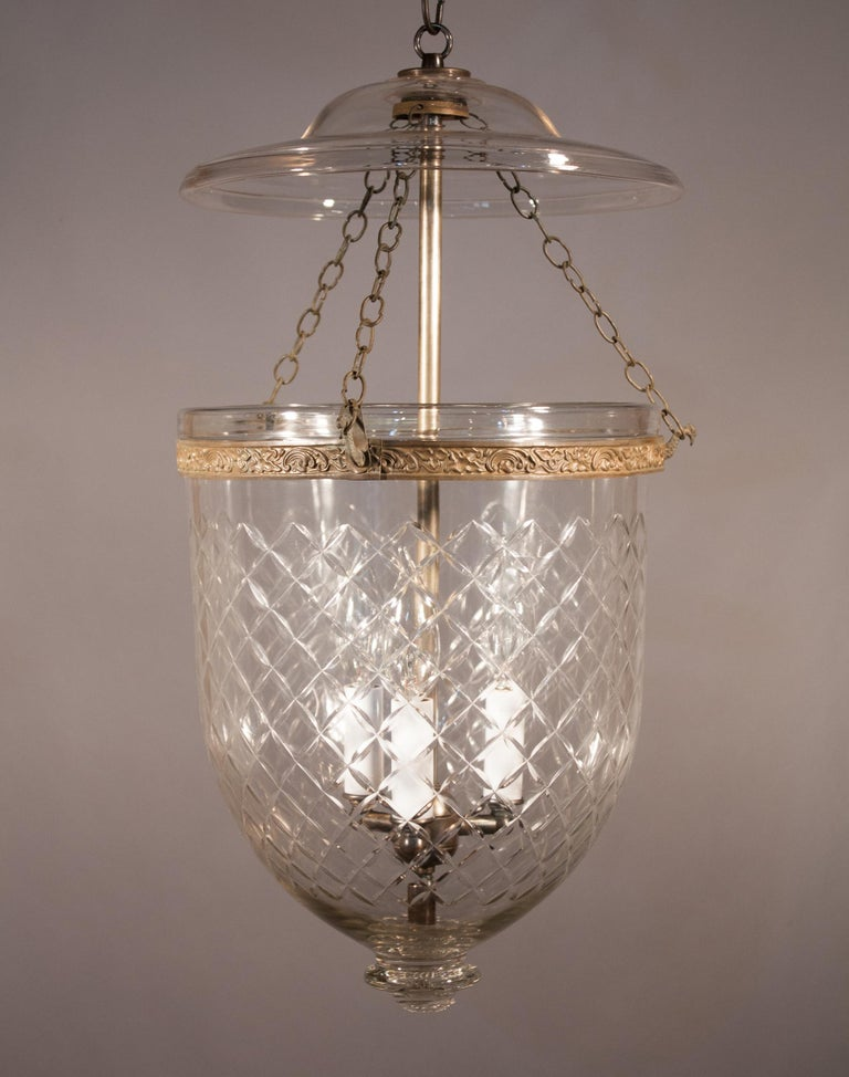 High Victorian 19th Century Bell Jar Lantern with Diamond Etching For Sale