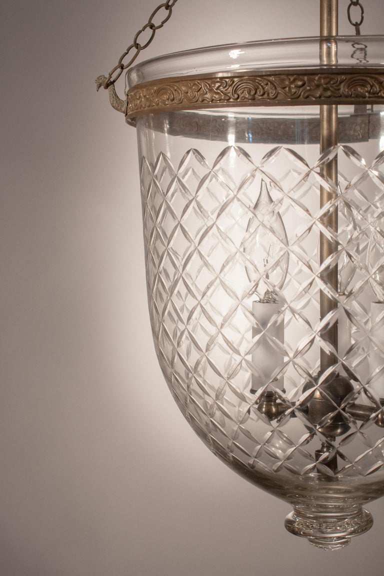 English 19th Century Bell Jar Lantern with Diamond Etching For Sale