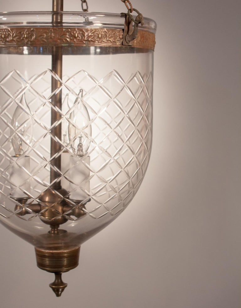 Embossed 19th Century Bell Jar Lantern with Diamond Etching For Sale