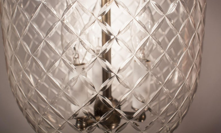 19th Century Bell Jar Lantern with Diamond Etching In Excellent Condition For Sale In Shelburne Falls, MA