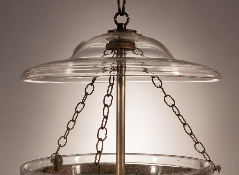Glass 19th Century Bell Jar Lantern with Diamond Etching For Sale