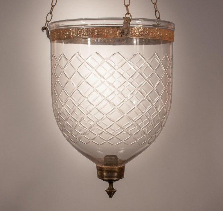 19th Century Bell Jar Lantern with Diamond Etching For Sale 2