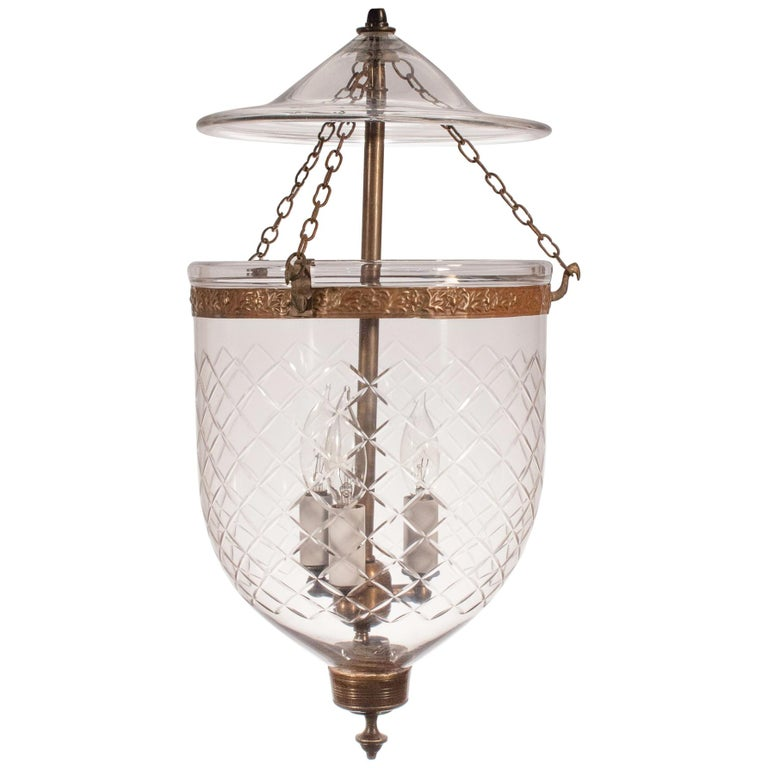 19th Century Bell Jar Lantern with Diamond Etching For Sale