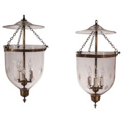 19th Century Bell Jar Lanterns with Etched Stars