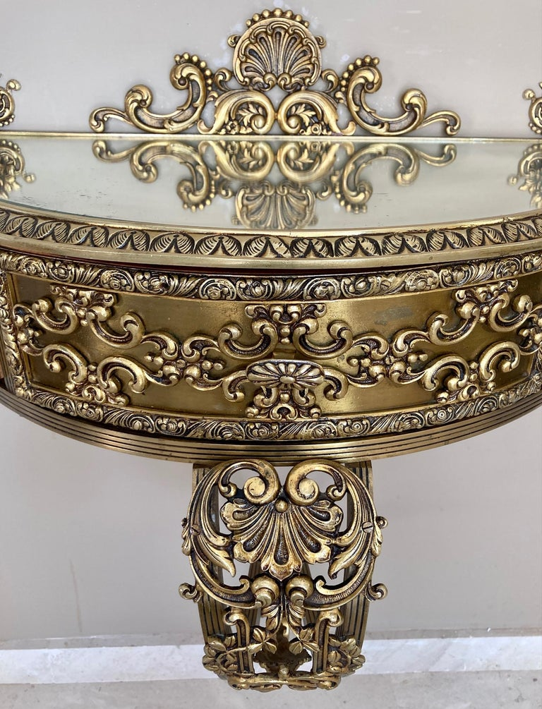 19th Century Belle Époque French Bronze Mirror and Brass Pair of Nightstands For Sale 8
