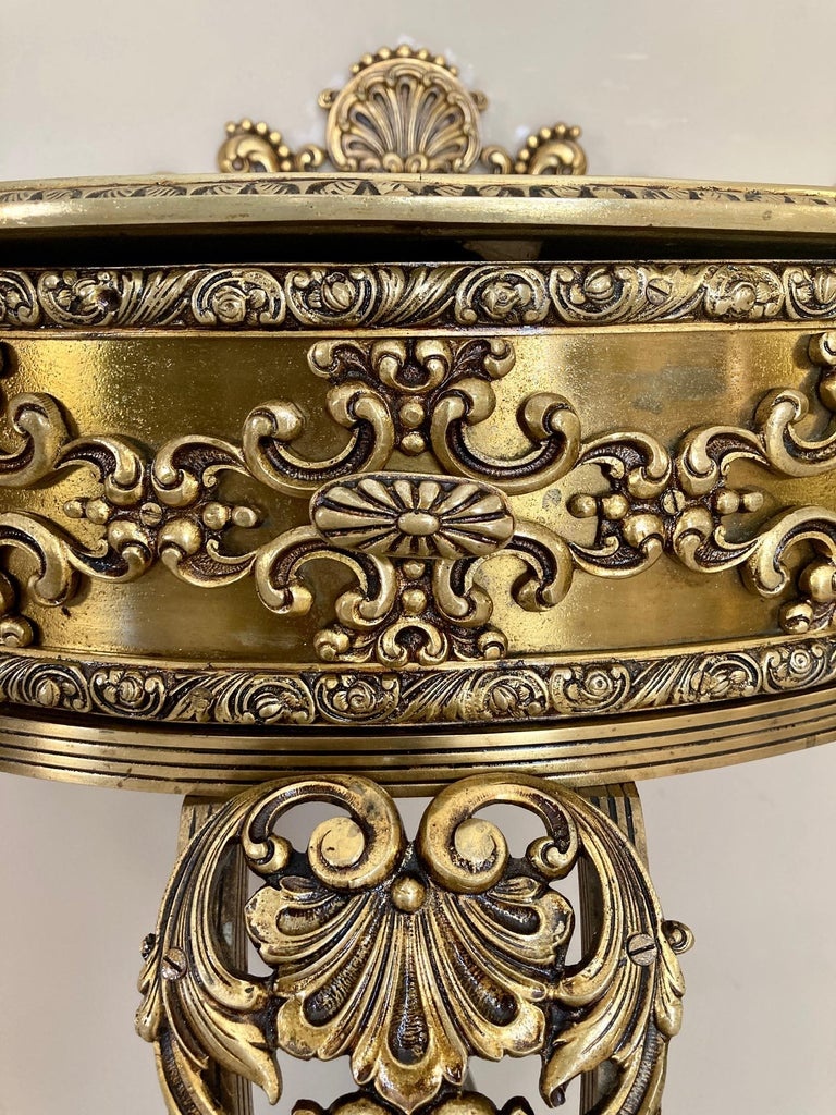 19th Century Belle Époque French Bronze Mirror and Brass Pair of Nightstands For Sale 9