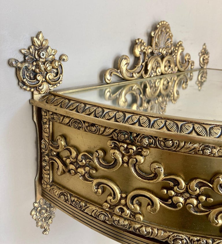 19th Century Belle Époque French Bronze Mirror and Brass Pair of Nightstands For Sale 10