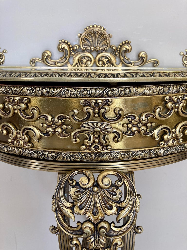 19th Century Belle Époque French Bronze Mirror and Brass Pair of Nightstands For Sale 2
