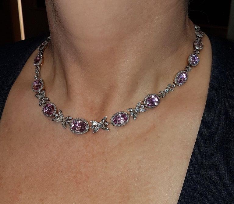 Belle Époque 19th Century Belle Epoque Pink Topaz Diamond Platinum Gold Necklace For Sale