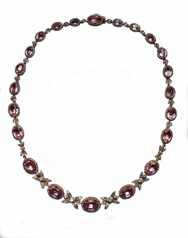 19th Century Belle Epoque Pink Topaz Diamond Platinum Gold Necklace In Excellent Condition For Sale In Berlin, DE