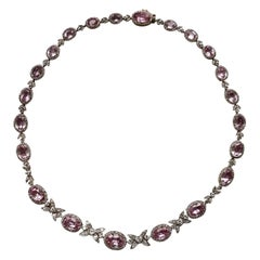 19th Century Belle Epoque Pink Topaz Diamond Platinum Gold Necklace