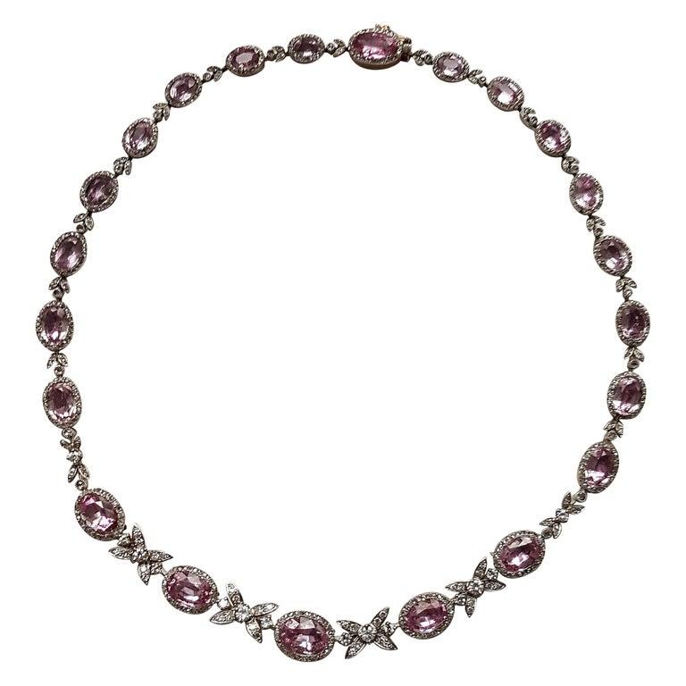 19th Century Belle Epoque Pink Topaz Diamond Platinum Gold Necklace For Sale