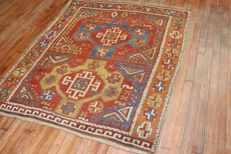 Hand-Woven 19th Century Bergama Turkish Rug For Sale
