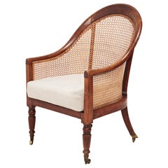 19th Century Bergère Beech Armchair with Caned Back