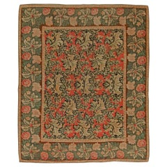 19th Century Bessarabian Brick Red, Forest Green, Pale Moss and Pink Wool Rug