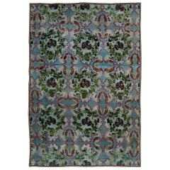19th Century Bessarabian Floral Design Wool Rug in Deep Fuchsia, Blue and Green