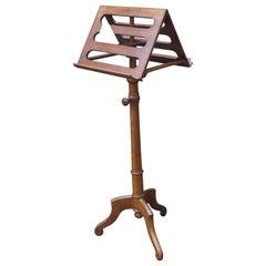 19th Century Biedermeier Adjustable Wooden Duet Sheet Music Stand AAA+ Condition