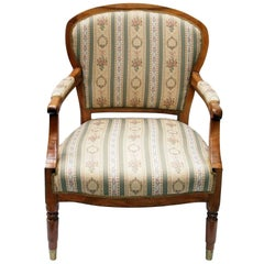 19th Century Biedermeier Armchair Solid Walnut Wood